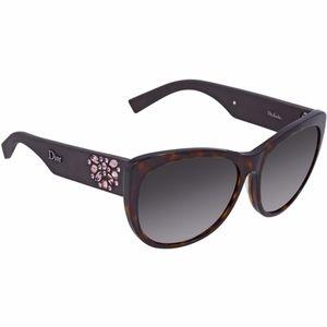 New DIOR Brown Encrusted Cat Eye Sunglasses